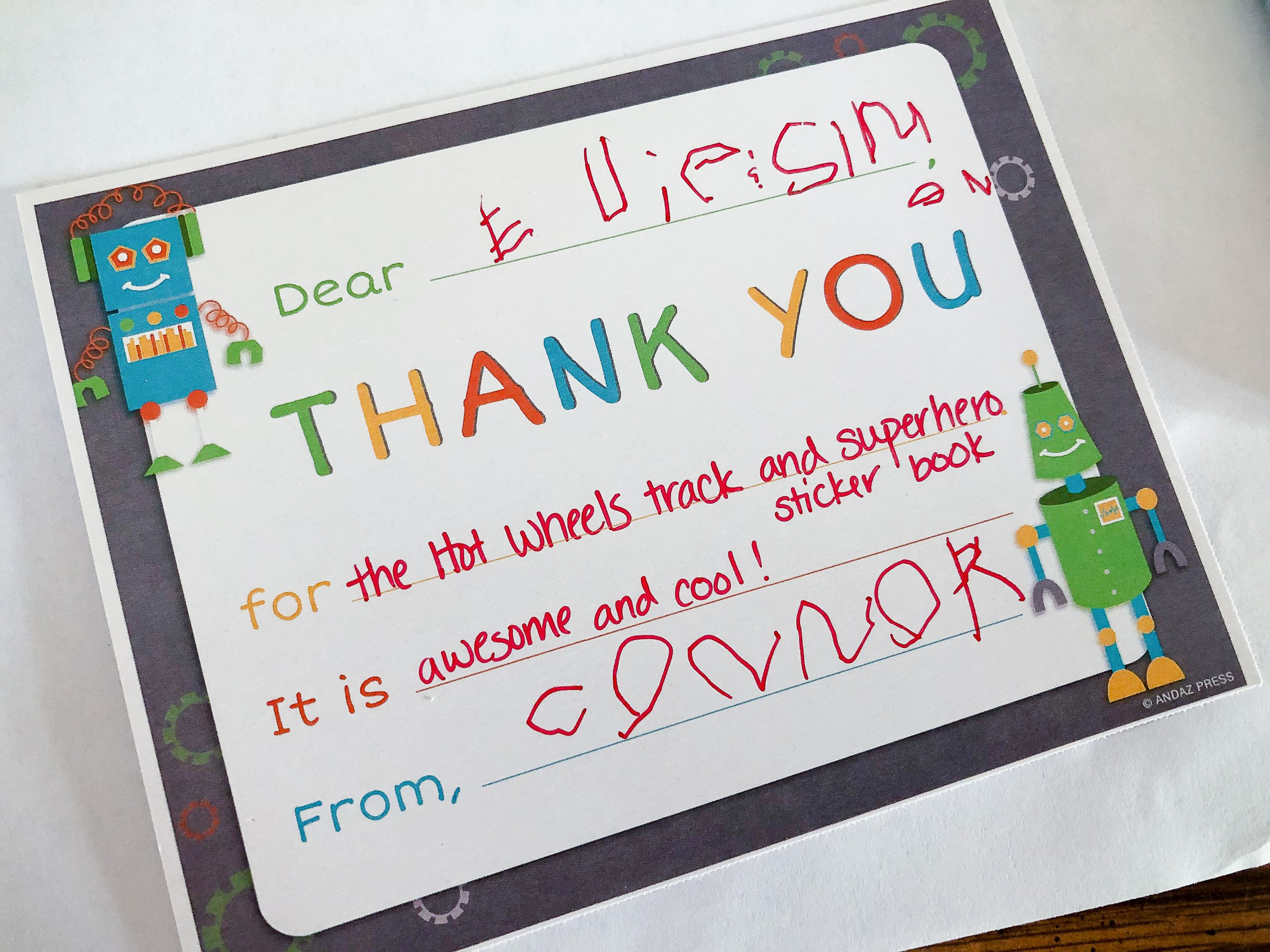 Fill in the bank thank you notes for preschoolers